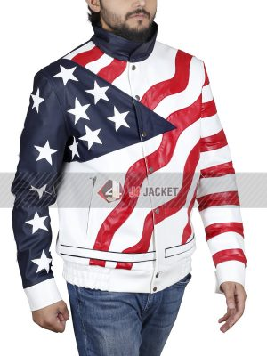 American Rapper Vanilla Ice USA Flag Leather Jacket