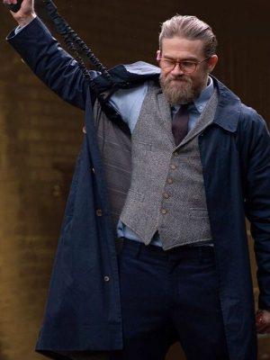 Charlie Hunnam The Gentlemen Blue Trench Coat