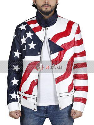 Robert Matthew aka Vanilla Ice USA Flag Leather Jacket