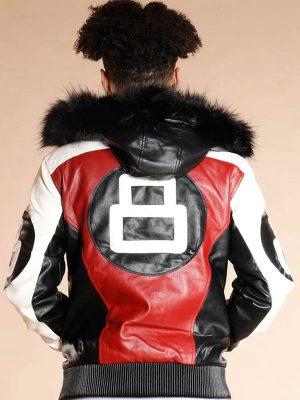 8-Ball-Logo-Bomber-Style-Fur-Hooded-Leather-Jacket