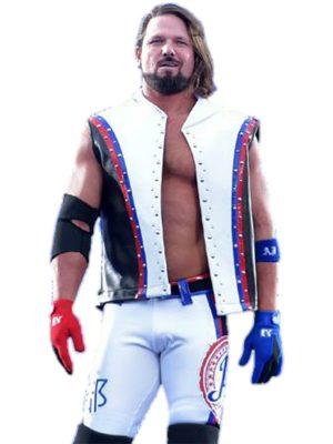 WWE Allen Neal Jones A.J. Styles Leather Vest