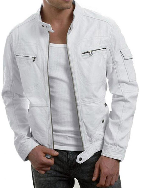 Men's White Racer Jacket
