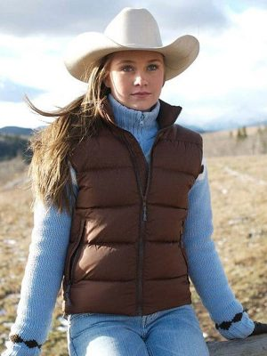Amy Fleming Heartland Brown Puffer Vest