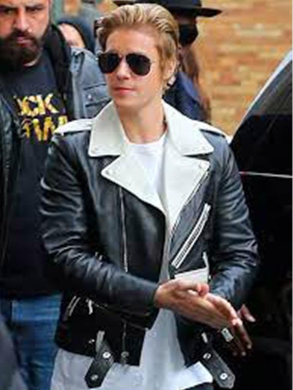 Justin Bieber Black & White Biker Jacket