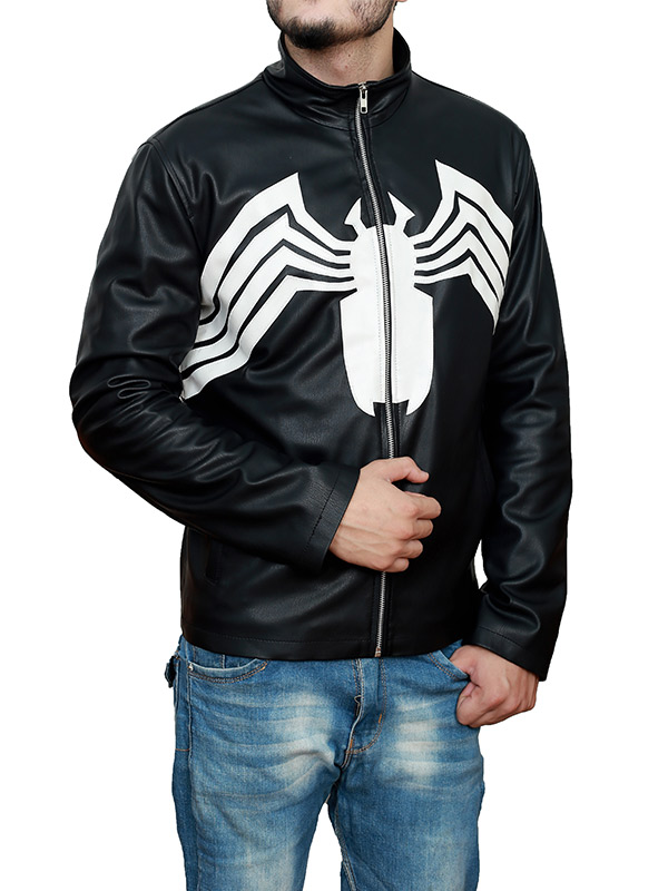 Venom 2021 Tom Hardy Spider Logo Black Jacket