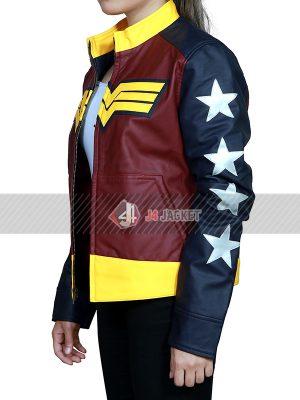 Batman V Superman Dawn of Justice Wonder Women Tricolor Leather Jacket