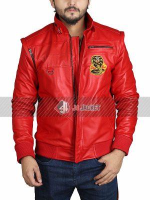 TV Series Cobra Kai Halloween Costume Cosplay Red Bomber Leather Jacket