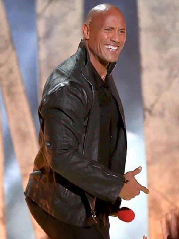 Dwayne Johnson MTV Movie Awards 2015 Black Leather Jacket