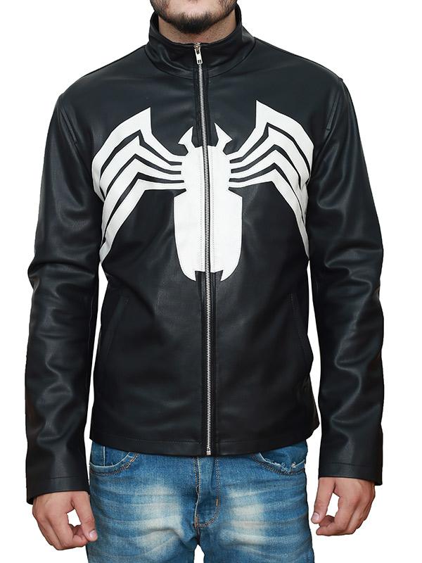 Venom 2021 Tom Hardy Spider Logo Leather Jacket