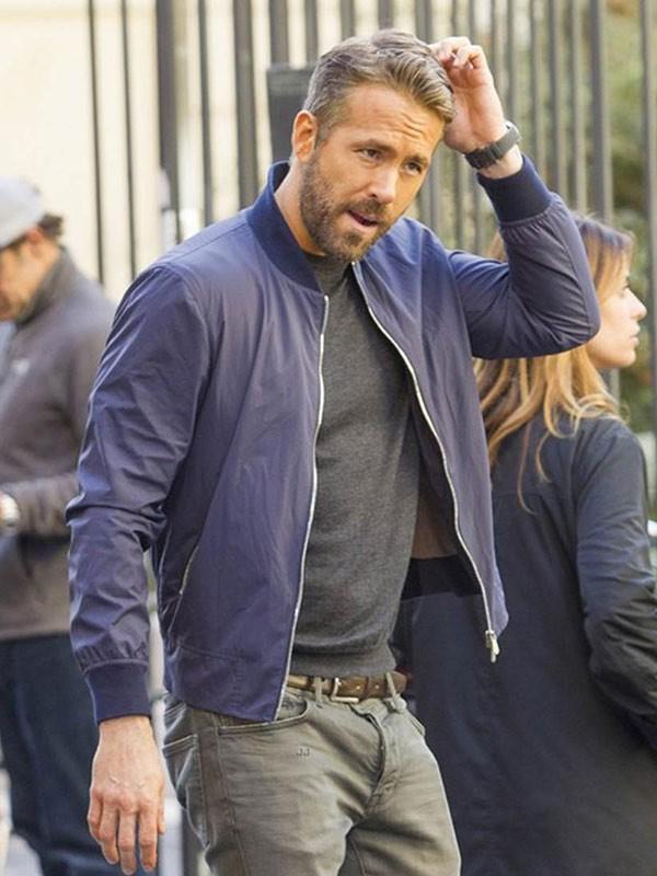 Ryan Reynolds 6 Underground 2019 Blue Cotton Bomber Jacket