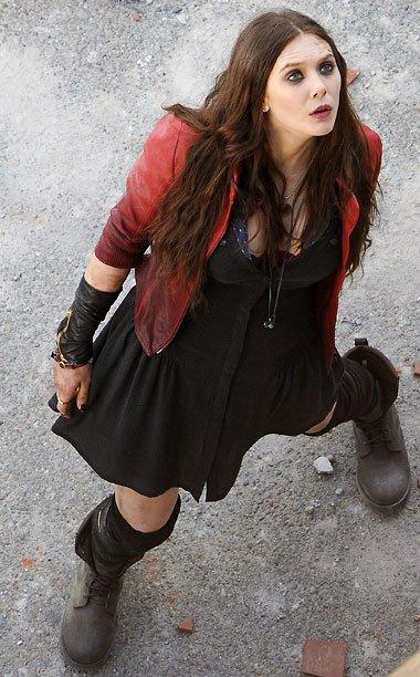 Elizabeth Olsen Wanda Maximoff The Avengers 2 Scarlet Witch Red Leather Jacket