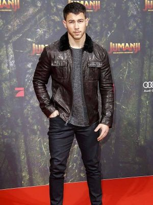 Nick Jonas Jumanji 3 Alex Vreeke Brown Leather Jacket