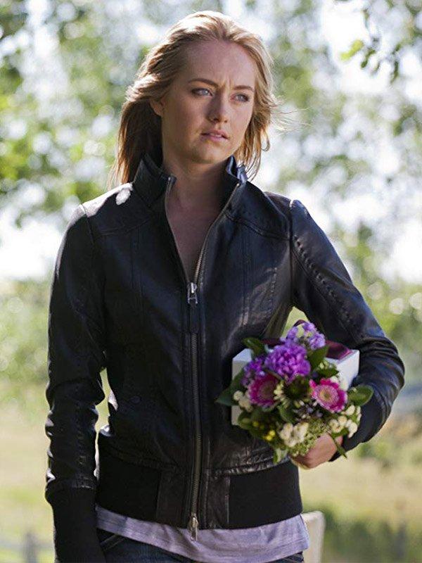 Amy Fleming Heartland Amber Marshall Black Leather Jacket