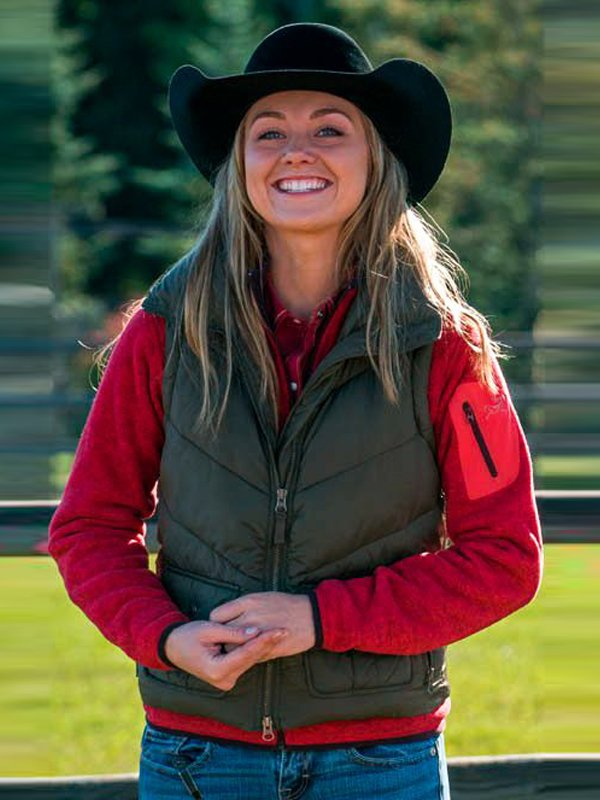 Amy Fleming Heartland Amber Marshall Green Polyester Vest