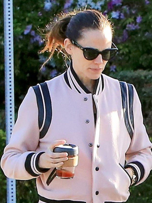 Jennifer Garner Varsity Pink Leather Jacket