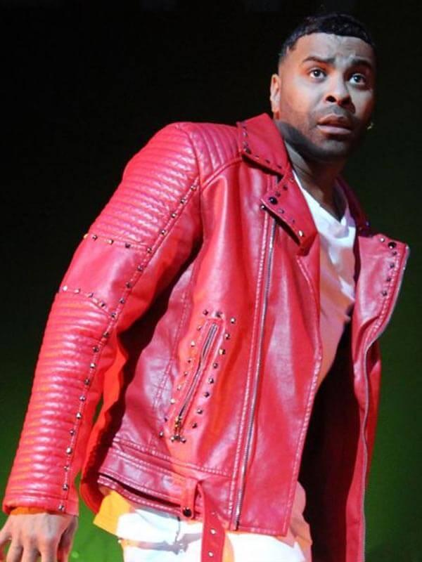 Ginuwine American Singer Studded Red Biker Leather Jacket