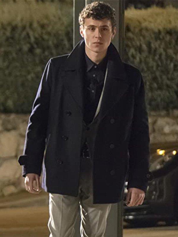TV Series Elite Arón Piper Black Wool Peacoat