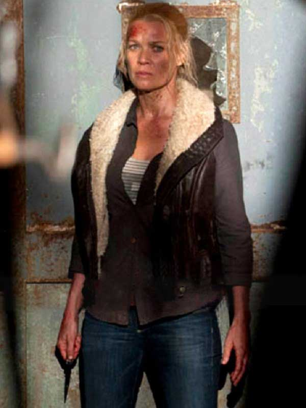 Laurie Holden The Walking Dead Andrea Shearling Leather Vest
