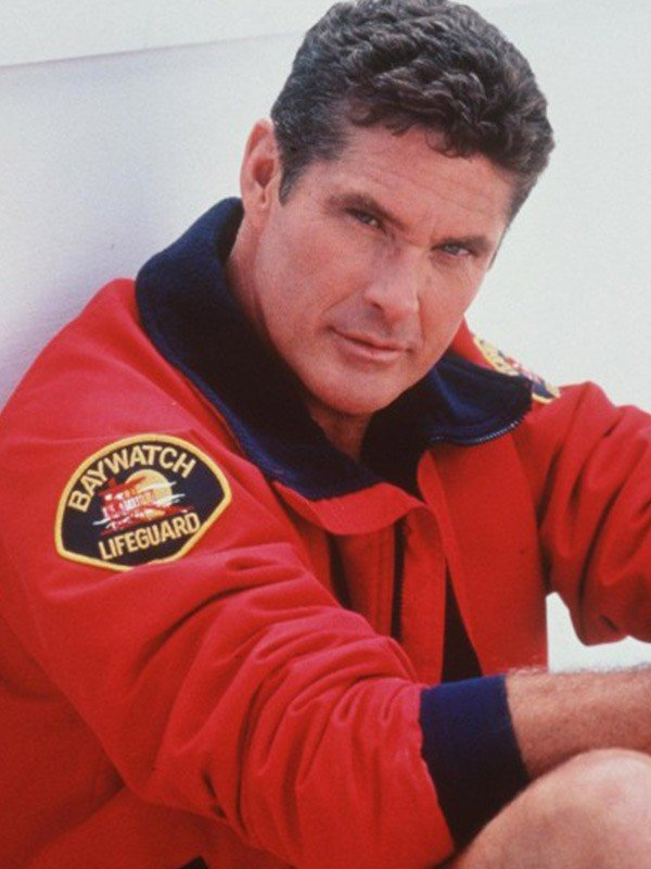 David Hasselhoff Baywatch The Mentor Red Bomber Quilted jacket