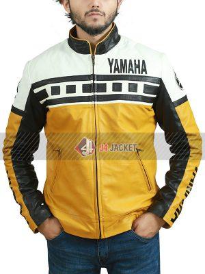 Yamaha Motorcycle Riding Vintage Yellow Leather Jacket