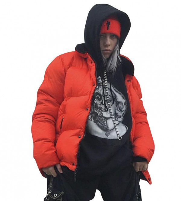 Billie Eilish American Singer Polyester Orange Puffer Jacket