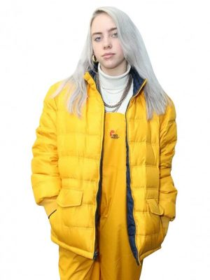 American Singer Billie Eilish Polyester Yellow Puffer Jacket