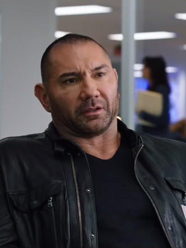 JJ My Spy 2020 Dave Bautista Black Leather jacket