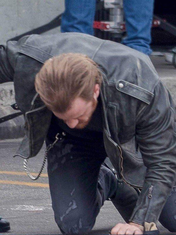 Captain Marvel Robert Kazinsky Distressed Black Leather Jacket