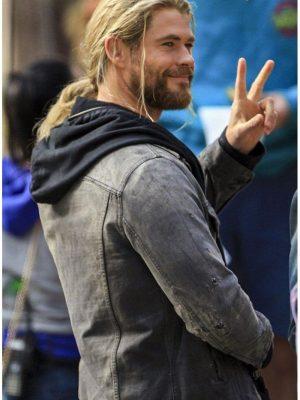 Chris Hemsworth ThorRagnarok Movie 2017 Thor Gray Denim Leather