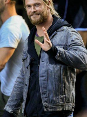Chris Hemsworth Thor:Ragnarok Gray Denim Leather