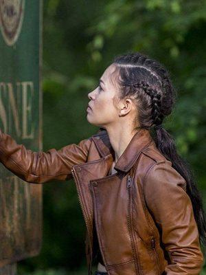 The Walking Dead Season 09 Christian Serratos Brown Leather Jacket