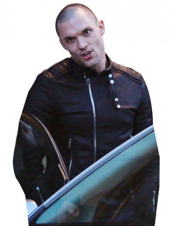 Deadpool Movie 2016 Ed Skrein Black Slim-Fit Leather Jacket