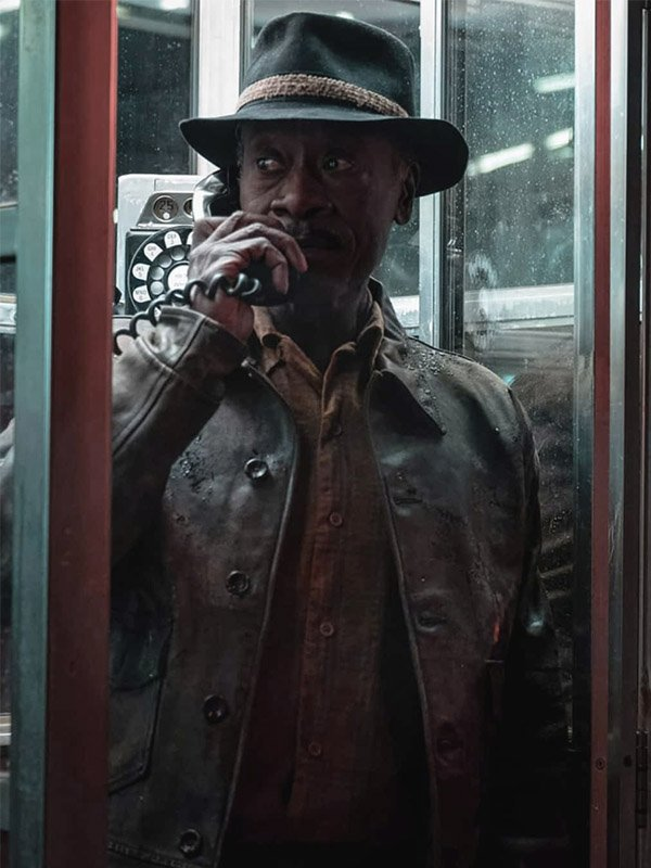 No Sudden Move Movie 2021 Don Cheadle Brown Leather Jacket