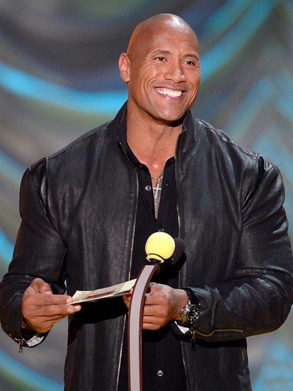 2015 MTV Movie Awards Dwayne Johnson Black Leather Jacket