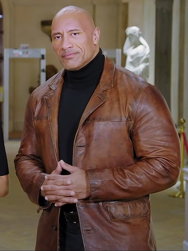 Red Notice 2021 Dwayne Johnson Distressed Brown Leather Jacket