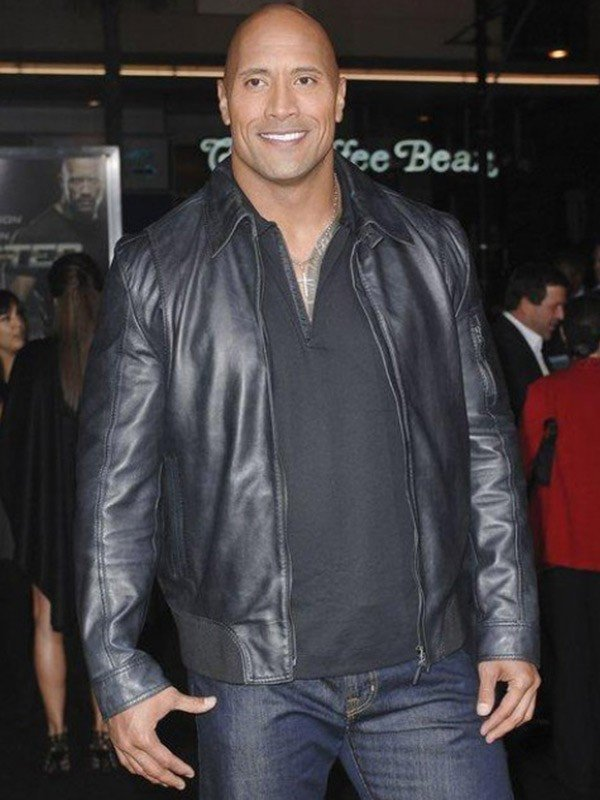 WWE Dwayne Johnson The Rock Black Leather Jacket