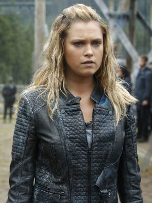 Clarke Griffin The 100 Eliza Taylor Black Quilted Leather Jacket