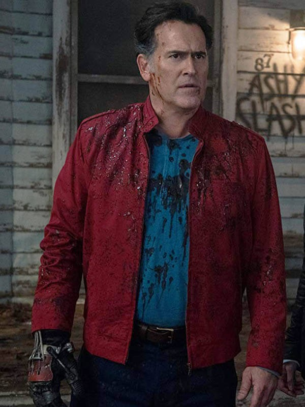Ash Williams TV Series Ash vs Evil Dead Bruce Campbell Red Cotton Jacket