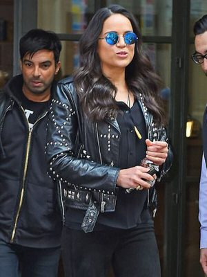 Letty Ortiz The Daily Show in New York City Black Studded Leather Jacket
