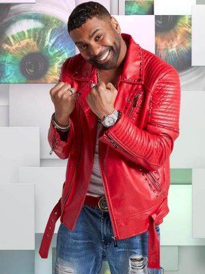 American singer Ginuwine Biker Studded Red Leather Jacket