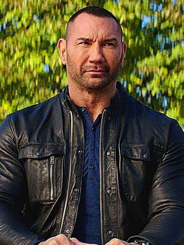 Dave Bautista My Spy 2020 Black Leather jacket