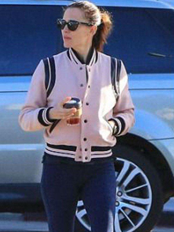 American Actress Jennifer Garner Pink Varsity Leather Jacket