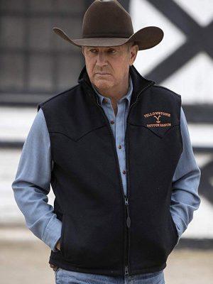 Kevin Costner Yellowstone John Dutton Black Wool Vest