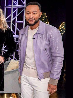 American singer John Legend The Voice 2021 Purple Leather Jacket