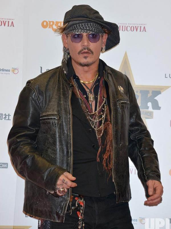 Johnny Depp American Actor Black Leather Jacket