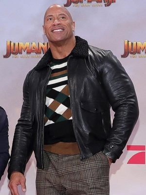 The Next Level Premiere Dwayne Johnson Jumanji Shearling Black Leather Jacket