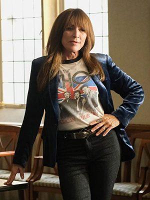 Annie Bello Rebel Tv Series Katey S01 Sagal Velvet Blue Blazer Coat