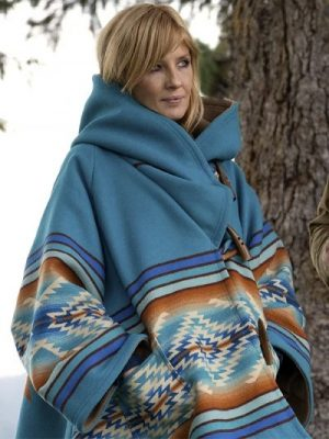 Kelly Reilly Yellowstone Beth Dutton Blue Hooded Coat
