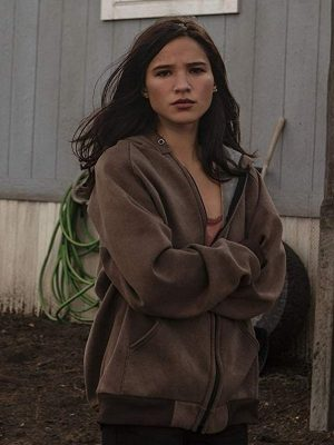 Monica Dutton TV Series Yellowstone Kelsey Asbill Brown Hooded jacket