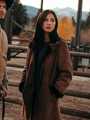 Kelsey Asbill Yellowstone Monica Dutton Suede Leather Coat
